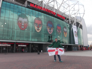 Northern Ireland flag at Old Trafford, Home of Manchester United in England.